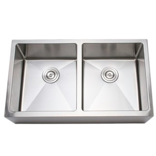 Wells Sinkware Handcrafted Double Bowl Undermount Stainless Steel Kitchen Sink