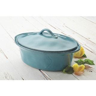 Rachael Ray Cucina Agave Blue Stoneware 3-1/2-quart Oval Casserole