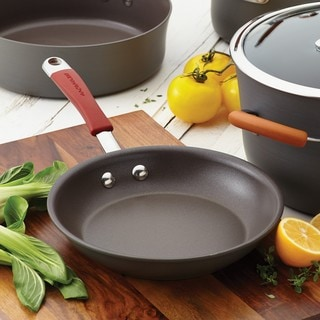 Rachael Ray Cucina Hard-Anodized Nonstick Twin Pack Skillet Set, Grey with Pumpkin Orange Handles