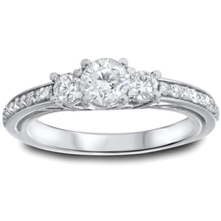 14k White Gold 1 1/4ct TDW Trellis Setting 3-stone Diamond Engagement Ring (I-J, I2-I3)