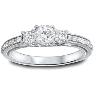 Bliss 14k White Gold 1 1/4ct TDW Trellis Setting 3-stone Diamond Engagement Ring (I-J, I2-I3)