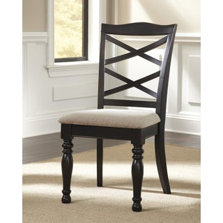 Signature Design by Ashley Harlstern Black Upholstered Dining Chair (Set of 2)
