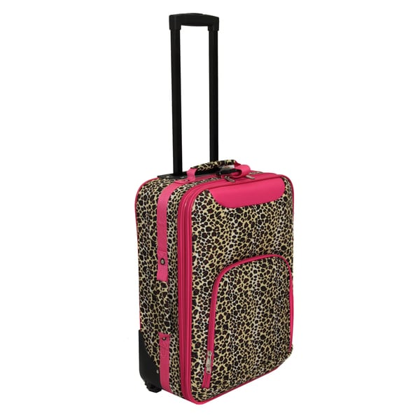 World Traveler Lightweight 20-inch Pink Leopard Carry-on Upright Suitcase