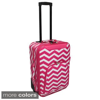 World Traveler Lightweight 20-inch Chevron Carry-on Upright Suitcase
