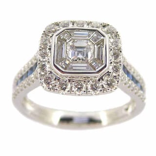Kabella Luxe 18k White Gold 1 1/6ct TDW White Diamond and Sapphire Square Halo Ring (G-H, VS1-VS2)