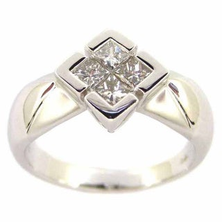 Kabella Luxe 18k White Gold 1/2ct TDW Diamond Square Ring (H-I, VS1-VS2)