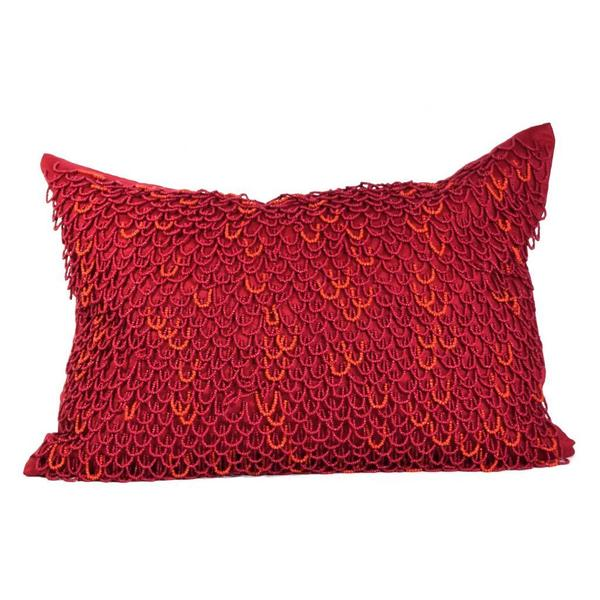 True Red Crazy Loops Beads Feather Filled Throw Pillow