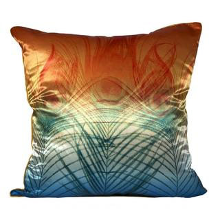 Peacock Satin Orange Green Ombre Feather Filled Throw Pillow