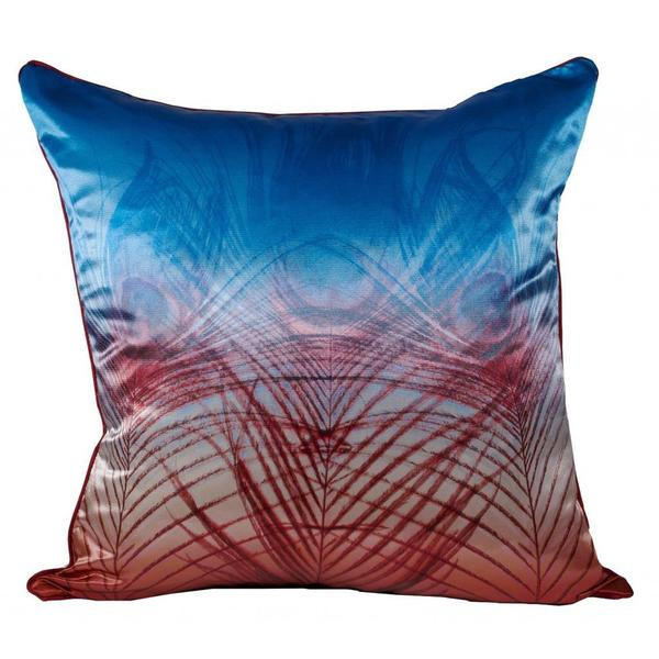 Peacock Satin Blue Red Ombre Feather Filled Throw Pillow