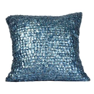 Dazzling Navy Blue Mother of Pearls Feather Filled Throw Pillow