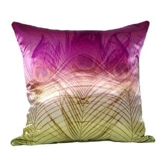 Peacock Satin Pink Gold Ombre Feather Filled Throw Pillow