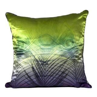 Peacock Satin Lime Purple Ombre Feather Filled Throw Pillow