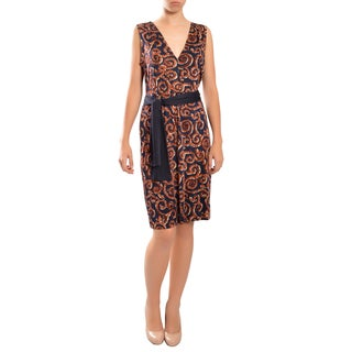 Tory Burch Women's 'Nicola' Silk V-neck Sleeveless Tie-waist Printed Dress