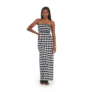Hadari Women's Checkered Black and White Strapless Maxi Dress