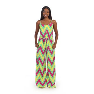 Hadari Women's Sleeveless Neon Chevron Jumpsuit