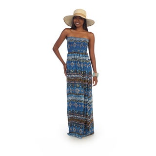 Hadari Women's Strapless Blue Tribal Print Maxi Dress