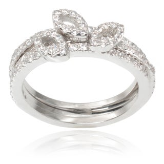 Journee Collection Brass Cubic Zirconia Leaf Ring Set