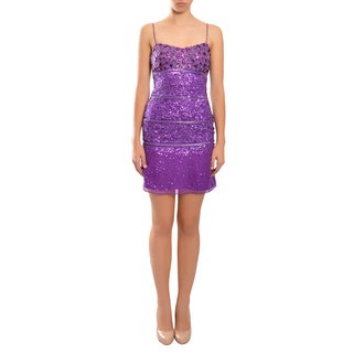 Aidan Mattox Women's Purple Rhinestone Sequin Fitted Slip Evening Dress