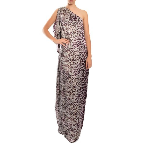 Badgley Mischka Women's Luscious Animal Print One Shoulder Draped Evening Gown Dress