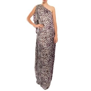 Badgley Mischka Women's Luscious Animal Print One Shoulder Draped Evening Gown Dress