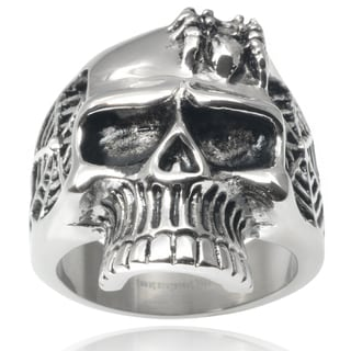 Vance Co. Men's Stainless Steel Spider Web Skull Ring