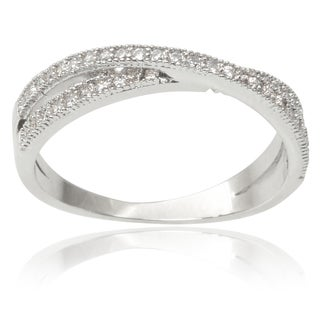Journee Collection Brass Cubic Zirconia Twisted Split-band Ring