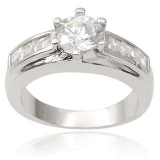 Journee Collection Brass Cubic Zirconia Engagement Ring