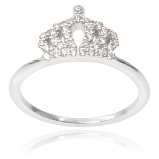 Journee Collection Brass Cubic Zirconia Crown Ring