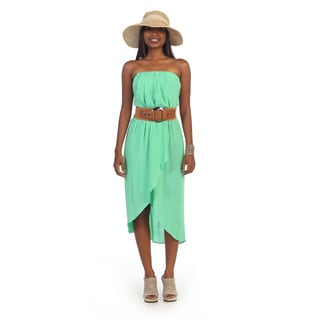 Hadari Women's Draped Mint High-low Dress
