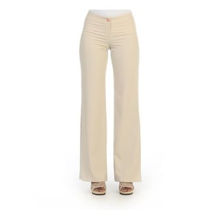 Hadari Women's Beige Wide Leg Dress Pants