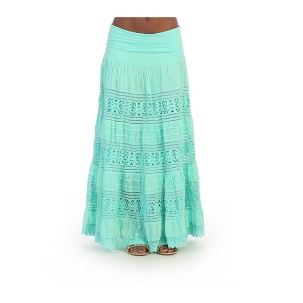 Hadari Womens Mint Fold-over Maxi Skirt