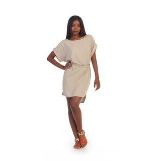 Hadari Womens Beige Dolman Sleeve Boat-neck Dress