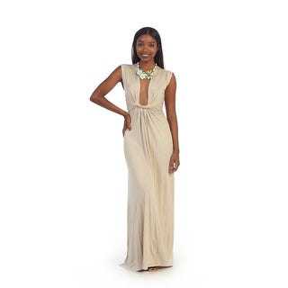 Hadari Women's Beige Deep V-neck Maxi Dress