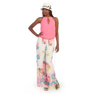 Hadari Women's Floral Sleeveless Halter Jumpsuit