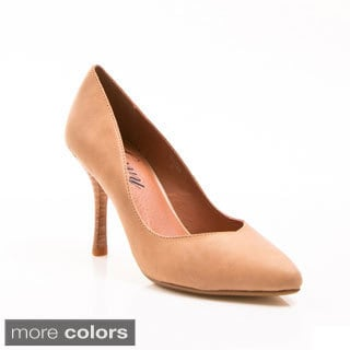 Women's 'Bazza' Leather Pointed-toe Mid Heel Pumps