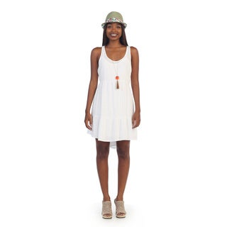 Hadari Womens Solid White Sleeveless Shift Dress