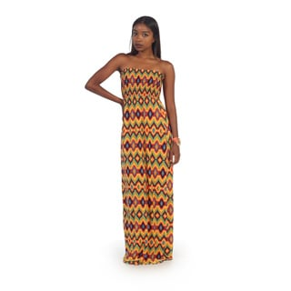 Hadari Womens Yellow Diamond Print Strapless Maxi Dress
