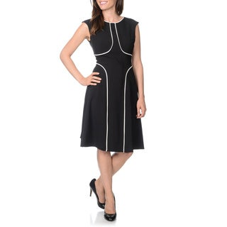 London Times Women's Black and White Piped Sleeveless Dress