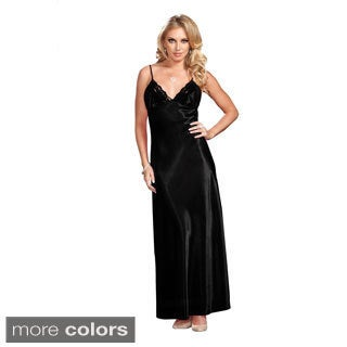 ICollection Women's Long Satin Lace-trimmed Night Gown