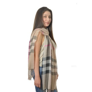 LA 77 Beige Plaid Twisted Fringe Scarf