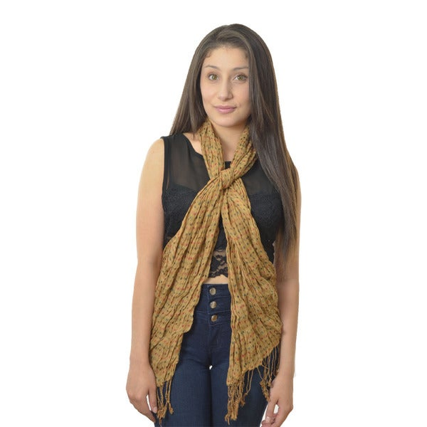 LA 77 Camel Stripes/ Polka Dots Double Sided Scarf