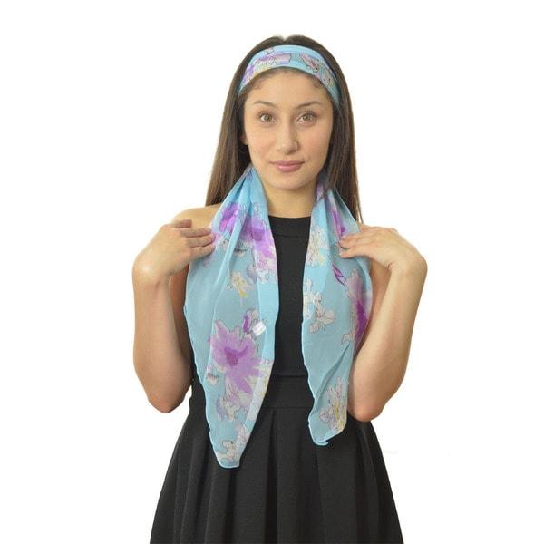 LA 77 Blue Floral Lightweight Silk-blend Scarf