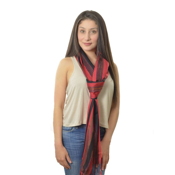 LA 77 Red and Black Thread-line Dressy Scarf