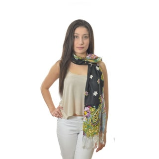 LA 77 Floral Paisley Print Twisted-fringe Scarf