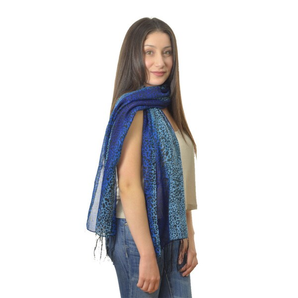 LA 77 Blue and Purple Split-color Animal Print Scarf