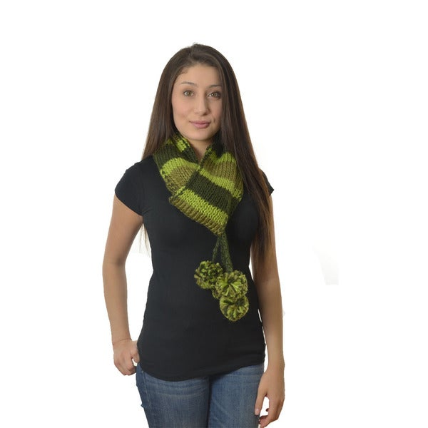 LA 77 Green Striped Knit Scarf with Pom Poms