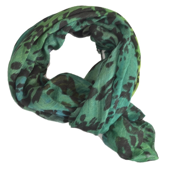 LA 77 Green Rainforest Leopard Print Scarf