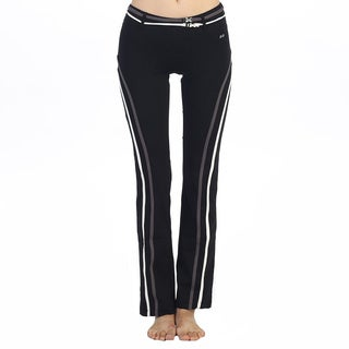 Hadari Women's Black Vertical Stripe Active Pants