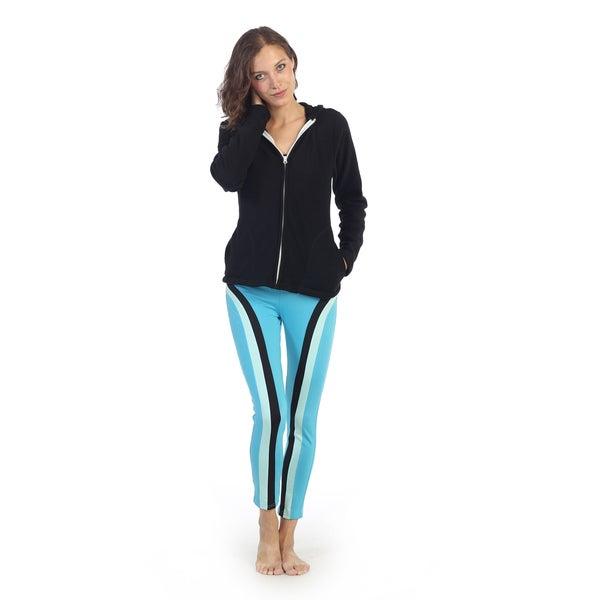 Hadari Women's Light Blue Vertical Striped Active Pants