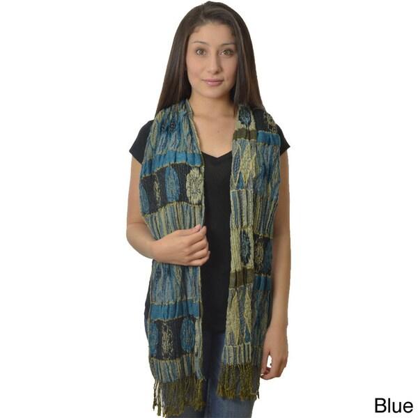 LA 77 Multi-print Crinkled Pashmina Silk Scarf